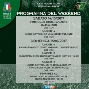 Programma Weekend del 14 e 15 ottobre 2017