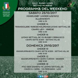 Programma WeekEnd del 28 e 29 Ottobre 2017