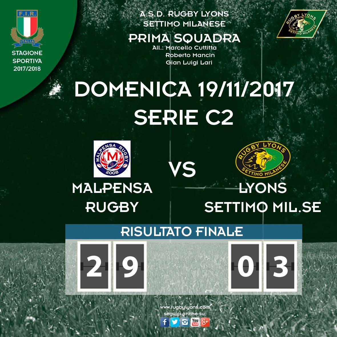 Risultato 7a giornata di Serie C2 – Prima Squadra