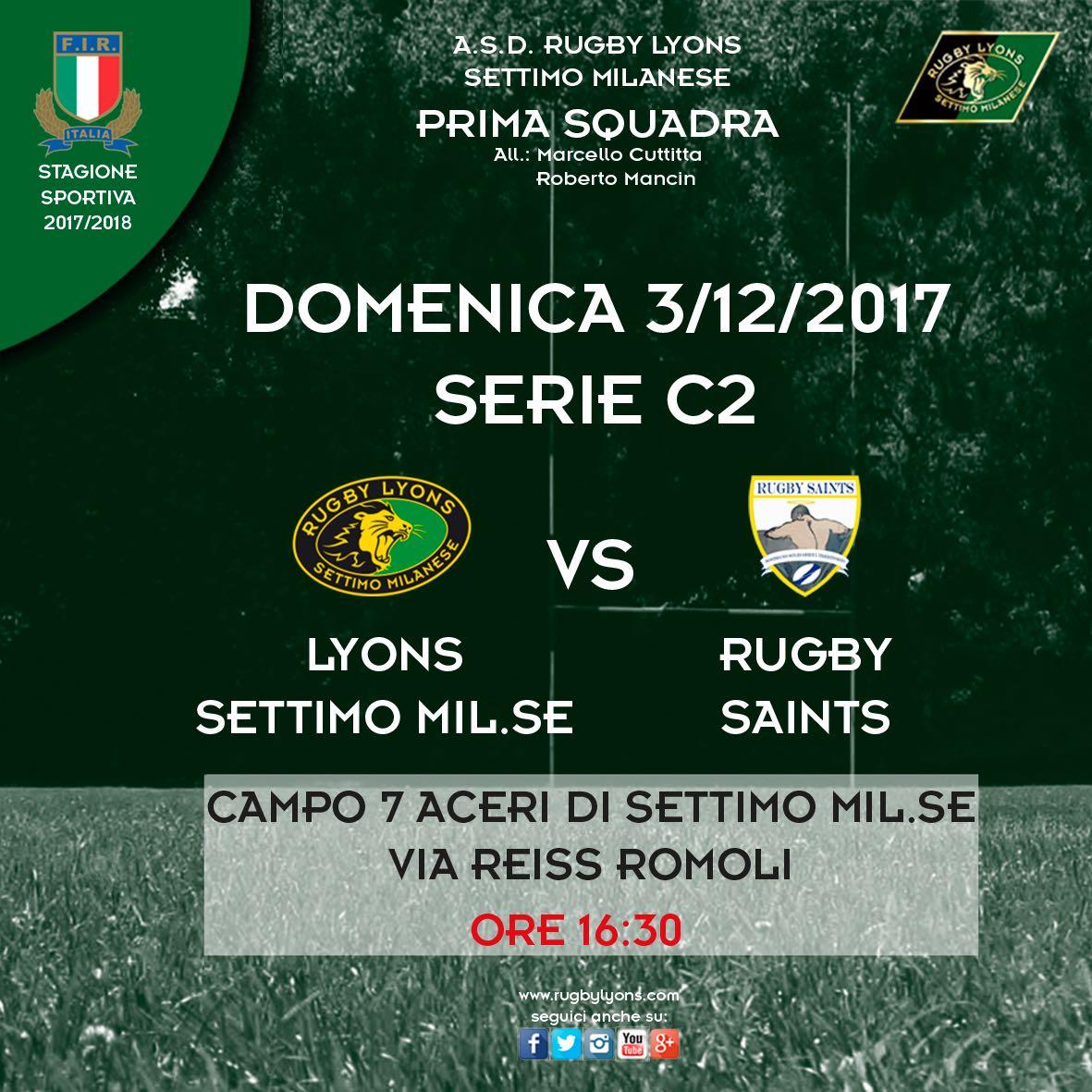 Programma Prima Squadra Campionato di Serie C2  Domenica 3 dicembre 2017