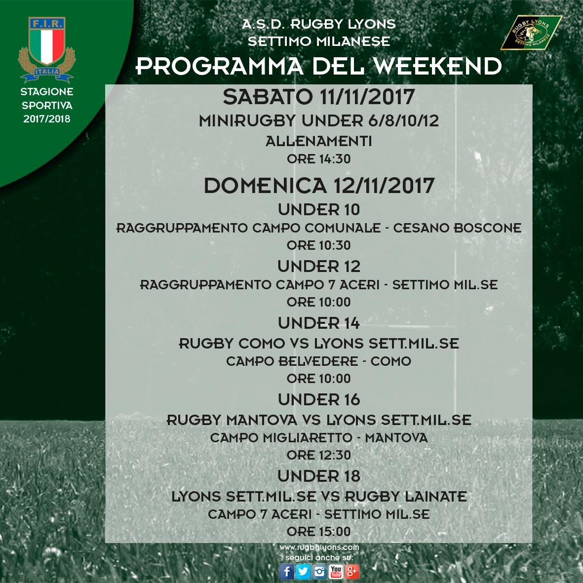 Programma WeekEnd 11 e 12 Novembre 2017