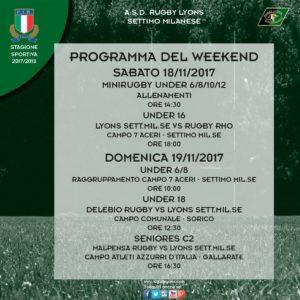 Programma week end del 18 e 19 novembre – Rugby Lyons