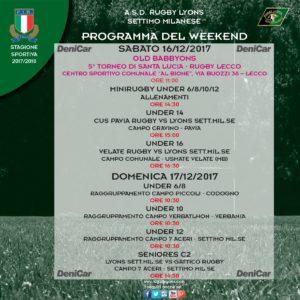 Aggiornamento programma weekend del 16 e 17 dicembre 2017