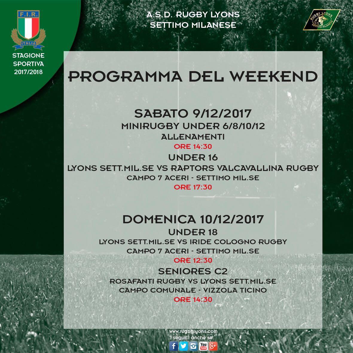 Programma weekend 9 e 10 dicembre 2017