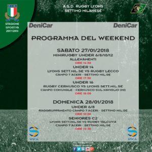 Programma weekend Rugby Lyons