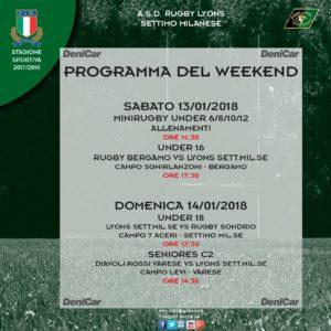 Programma weekend del 13 e 14 gennaio 2018