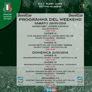 Programma del Weekend 20 e 21 gennaio 2018 – Rugby Lyons
