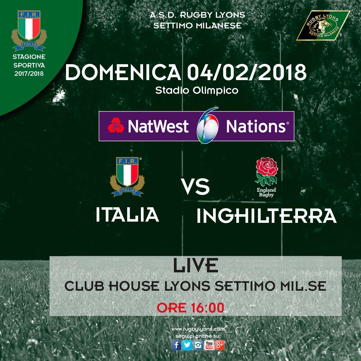 6 NAZIONI IN CLUB HOUSE – ITALIA vs INGHILTERRA