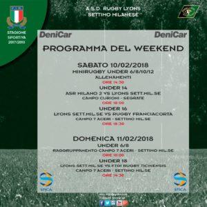 Programma weekend 10 e 11 febbraio 2018
