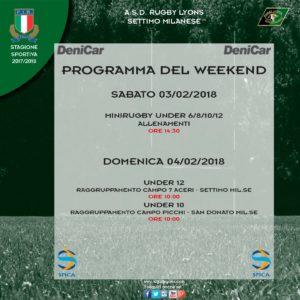 Programma Weekend 3 e 4 Febbraio 2018