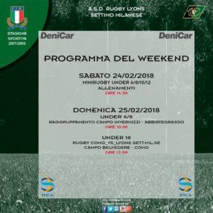 Programma Weekend 24 e 25 Febbraio 2018