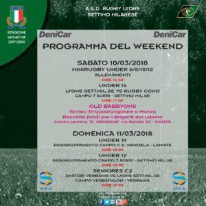 Programma  Week End del 10 e 11 marzo 2018