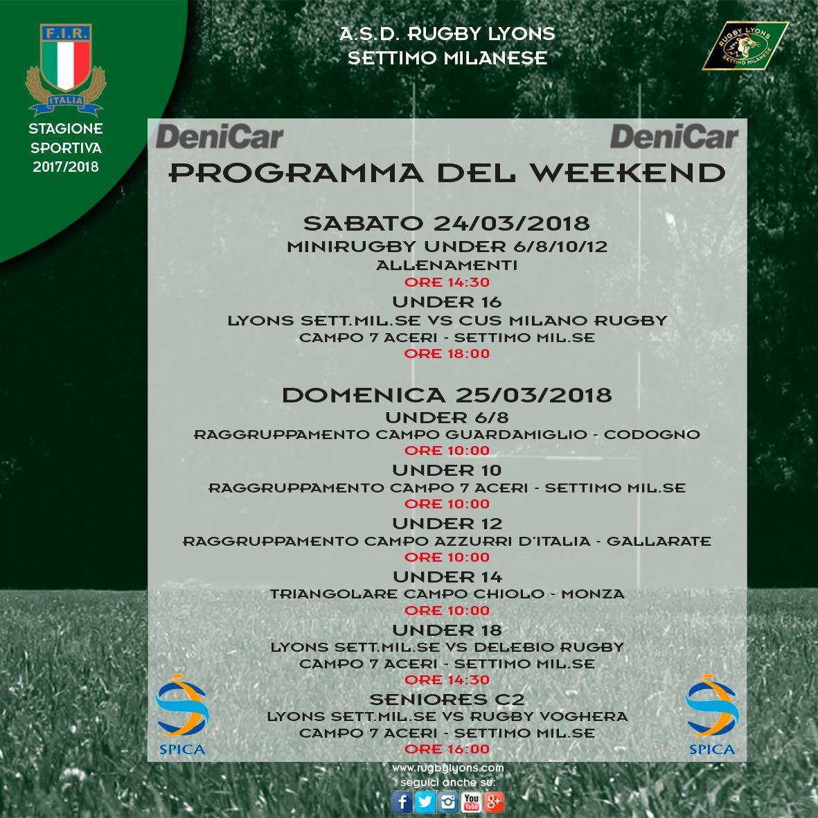 Programma Weekend del 24 e 25 marzo 2018