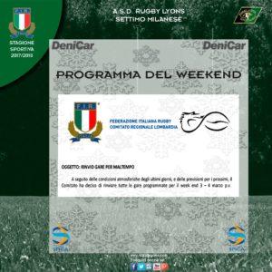 Sospensione attività Rugby Lyons Settimo Milanese per il weekend del 3 e 4 marzo 2018
