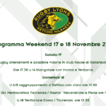 Programma Rugby Lyons per il weekend 17 e 18 Novembre 2018