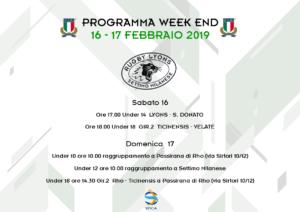 Programma Week End 16 e 17 Febbraio 2019