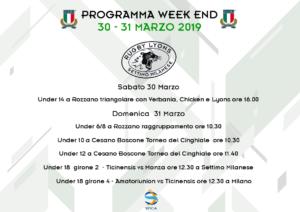 Rugby Lyons – Programma Week End 30 e 31 marzo 2019