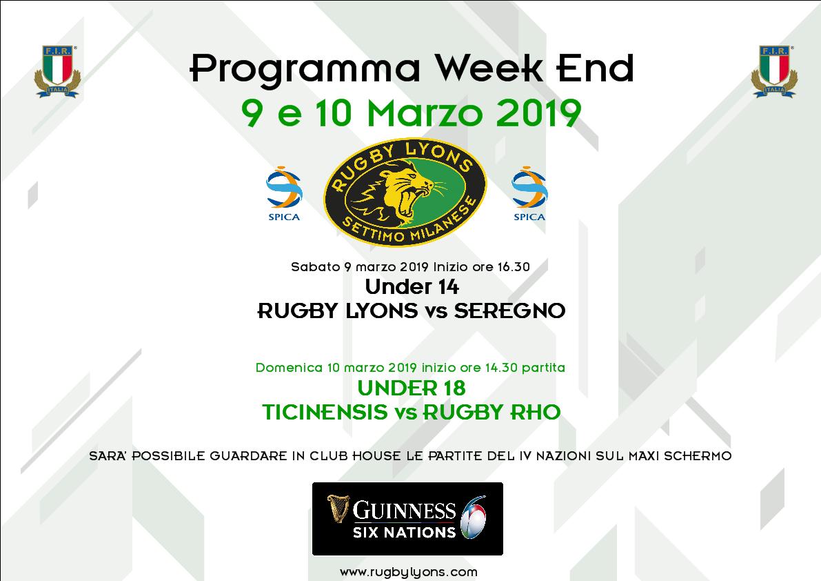 Rugby Lyons – Programma WeekEnd del 9 e 10 marzo 2019